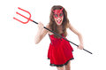 Woman as red devil in halloween concept Royalty Free Stock Images