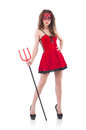 Woman as red devil in halloween concept Stock Photo