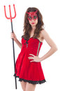 Woman as red devil in halloween concept Royalty Free Stock Image