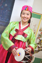 Woman asian drum hanbok dress Royalty Free Stock Images