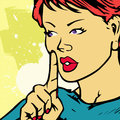 Woman asking for silence a comic book style illustration of a with a finger in front of her lips Stock Photos