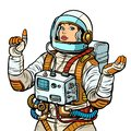 Woman astronaut, space exploration isolate on white background Royalty Free Stock Photo