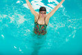 Woman athlete in swimming pool water. Sport. Royalty Free Stock Photo