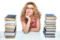 Woman attractive blond hair between stacks of books on white background Royalty Free Stock Photos