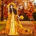 Woman Autumn Fashion Portrait, Fall Leaves, Model Girl Yellow Park Royalty Free Stock Photo