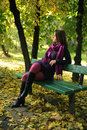 Woman in autumn park Stock Photo