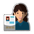 Woman avatar with curriculum vitae document icon