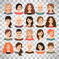 Woman avatar set on transparent background Royalty Free Stock Photo