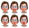 Woman avatar vector character. Set of teenager nerd girl heads