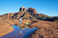 Woman awe wonder scenic landscape reflection iconic cathedral rock near sedona arizona Stock Images