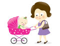 Woman with baby carriage Stock Images
