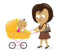 Woman with baby carriage illustration of a mother pushing Stock Images