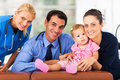Woman baby healthcare and girl with workers portrait in office Royalty Free Stock Images