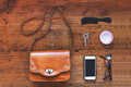 Woman bag stuff top view of the of Stock Photography