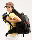 Woman with bag in a travel mood Royalty Free Stock Photography