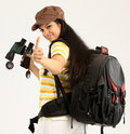 Woman with bag in a travel mood Royalty Free Stock Image