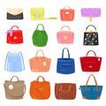 Woman bag vector girls handbag or purse and shopping-bag or clutch from fashion store illustration baggy set of shoppers Royalty Free Stock Photo