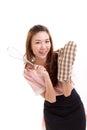 Woman baker wearing mitten glove for baking concept studio shot Stock Image
