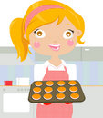 Woman baking cookies Stock Photo