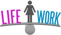 Woman balance life work decision choice weighs and on scale symbol Stock Photography