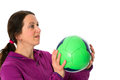 Woman with ball playing a Royalty Free Stock Photography