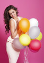 Woman with balloons gorgeous multi colored Royalty Free Stock Image