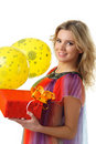 Woman with balloons and present Royalty Free Stock Photography