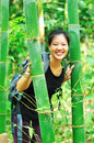 Woman in bamboo forest Royalty Free Stock Images