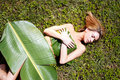 Woman in banana leaves Royalty Free Stock Photo