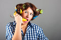 Woman with banana like a phone fanny portrait of Stock Photo