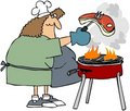 Woman Barbecueing A Steak Stock Photo
