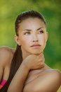 Woman with bare shoulders looked Royalty Free Stock Photos