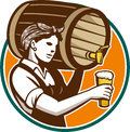 Woman bartender pouring keg barrel beer retro style illustration of a female of into pint glass set inside circle on isolated Royalty Free Stock Image