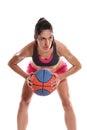 Woman basket ball young playing Stock Photos