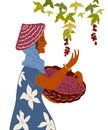Woman with basket gather coffee beans flat vector illustration isolated.