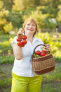 Woman with basket of harvested vegetables happy mature Stock Image