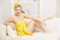 Woman in bath towel Royalty Free Stock Photo