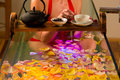 Woman bathing in spa with color therapy Stock Images