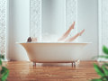 Woman is bathing in the tub