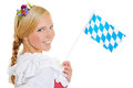 Woman with bavarian flag and dirndl young happy smiling a Royalty Free Stock Photography