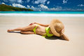 Woman at beach in bikini tropical seychelles Royalty Free Stock Images