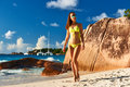 Woman at beach in bikini tropical seychelles Royalty Free Stock Photo