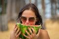 Woman on beach gets sun tan Royalty Free Stock Photo
