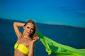 Woman at the beach holding sarong up in the air Stock Images
