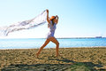 Woman on beach pretty in limassol cyprus Stock Photography