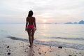 Woman On Beach At Sunset Back Rear View, Young Girl In Bikini Stand Looking On Sea Royalty Free Stock Photo