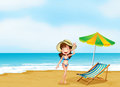 A woman at the beach with an umbrella and a chair illustration of Royalty Free Stock Image