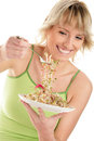 Woman with beansprouts Stock Photography