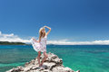 Woman on the beautiful beach ocean and blue sky of okinawa Royalty Free Stock Images