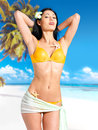 Woman with beautiful body in bikini at beach Stock Image